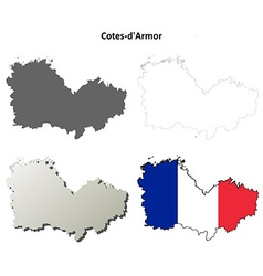 Cotes-darmor brittany outline map set vector