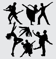 Couple ballet dance silhouette vector