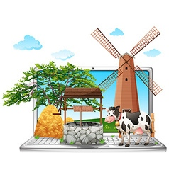 Cow and well on computer screen vector