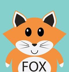 Cute fox cartoon flat icon avatar vector