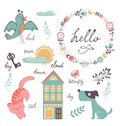 Cute preschool words collection vector image