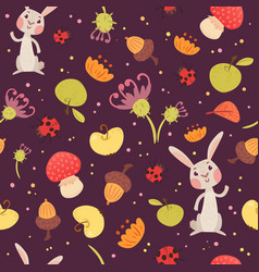cute rabbits and plants seamless pattern vector image