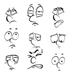 Different facial expressions on white background vector
