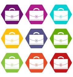 Diplomat icon set color hexahedron vector