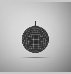 Disco ball flat icon on grey background vector