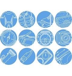 Diving objects blue round icons vector image