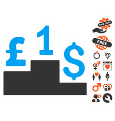 dollar pound competition icon with lovely bonus vector image