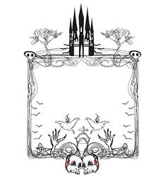 Doodle frame Halloween bones bats and skulls vector
