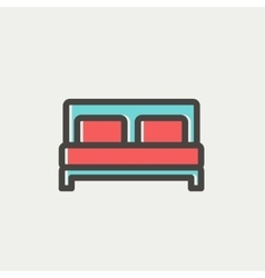 Double bed thin line icon vector