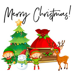 Elves and christmas tree with phrase merry vector