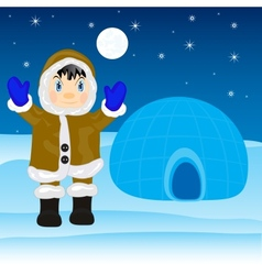 Eskimo beside igloo vector image