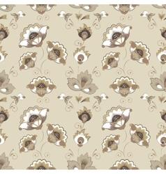 Floral Russian pattern in beige color scheme vector
