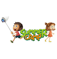 font design for word summer camp with kids vector image