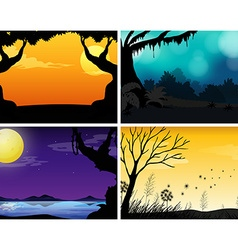 Four scenes of nature with colorful background vector image
