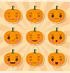 funny cartoon halloween pumpkin sticker icons vector image