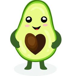 Funny happy cute happy smiling avocado vector