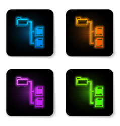 glowing neon folder tree icon isolated on white vector image