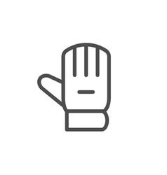 Goalkeeper glove line icon vector