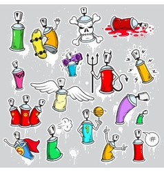 Graffiti characters icons set vector image