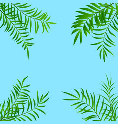 green summer tropical background with leaves of vector image