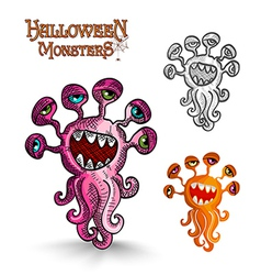 Halloween monsters weird eyes squid EPS10 file vector