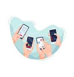 hands holding smartphone vector image