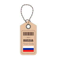 hang tag made in russia with flag icon isolated on vector image