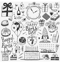 Happy birthday doodles set vector
