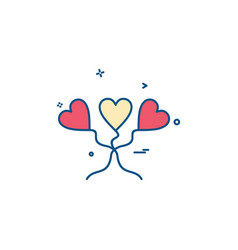 heart love heart balloon icon design vector image