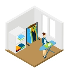 Household Chore Ironing Isometric Pictogram Banner vector