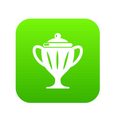 ice hockey cup icon green vector image
