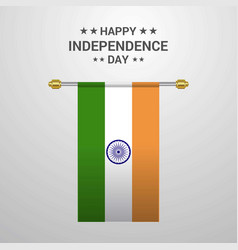 india independence day hanging flag background vector image