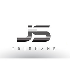 js black and white horizontal stripes letter logo vector image