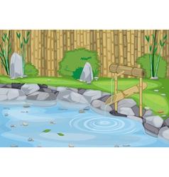 lake and bamboo wall vector image