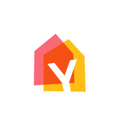 letter y house home overlapping color logo icon vector image