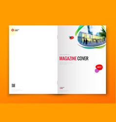 Magazine cover design corporate business brochure vector