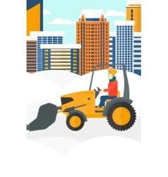Man plowing snow vector