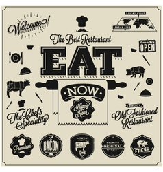 Meat works design elements vector