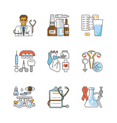 medicine outline flat icons vector image