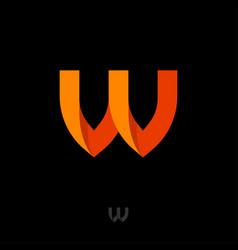 Monogram w orange ribbon folded paper strip vector