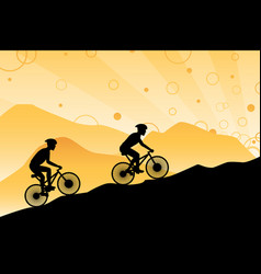 Mountain bikers vector