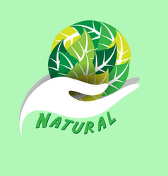 Natural hand support leaves earth green background vector