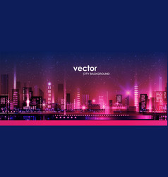 night city with neon glow and vector image