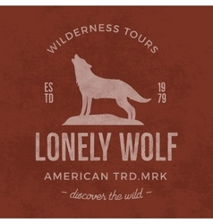 Old wilderness label with wolf and typography vector