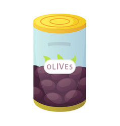 olive bottle in cartoon style vector image