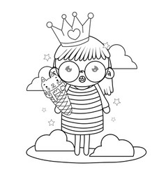 Outline girl with crown and kawaii cat ice cream vector
