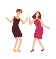 Pair of joyful women celebrating birthday happy vector