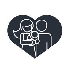 parents with bain love heart realtionship vector image