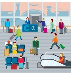 People in airport Flat vector image