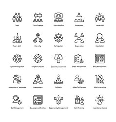 Project management line icons set 3 vector